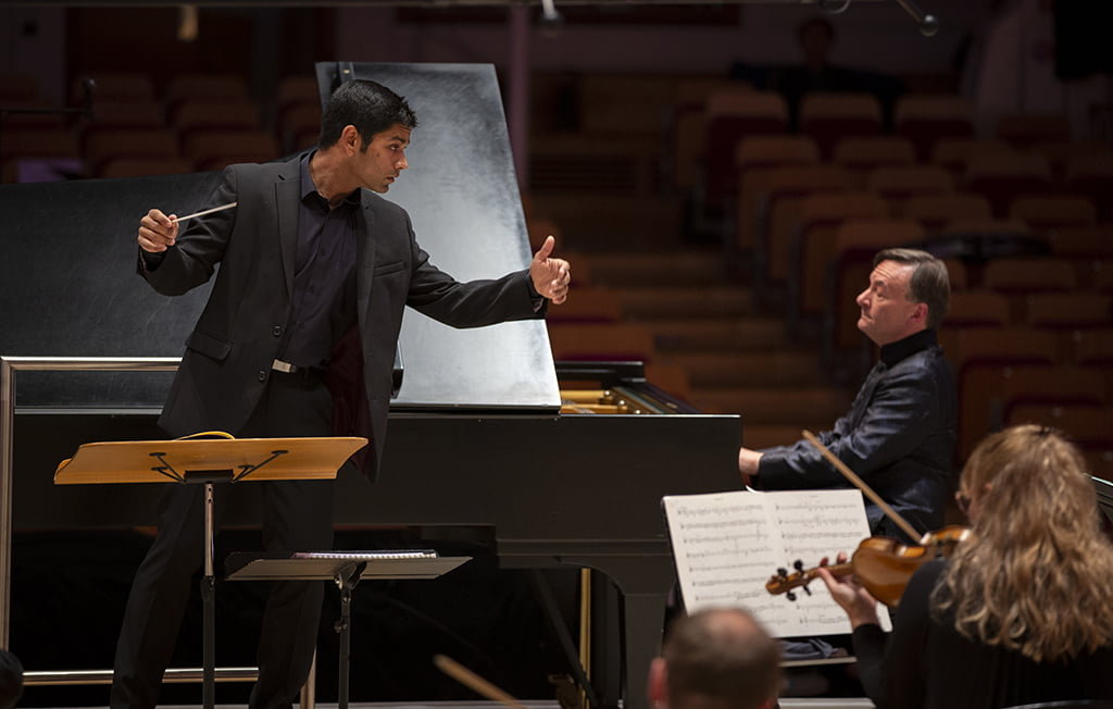BBC Scotish Symphony Orchestra conducted by Alpesh Chauhan with pianist Stephen Hough. Photo: BBC/Martin Shields