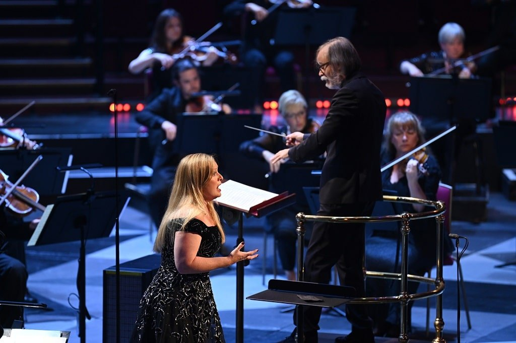 Ilan Volkov conducts Lucy Crowe with BBCSSO. Photograph: Chris Christodoulou
