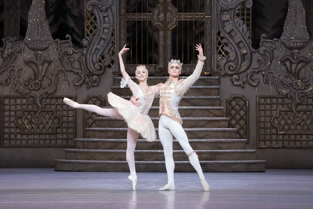 Yasmine Naghdi as The Sugar Plum Fairy and Matthew Ball as The Prince in The Nutcracker, The Royal Ballet © 2017 ROH. Photographed by Karolina Kuras